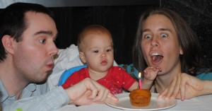 "No Messy ""Baby Frosting Face"" for us!  Here Baby Julia is eating ""healthier"" carrot cake for her first birthday!"